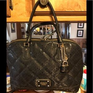 """Authentic """"GUESS"""" Black Shimmery Satchel"""